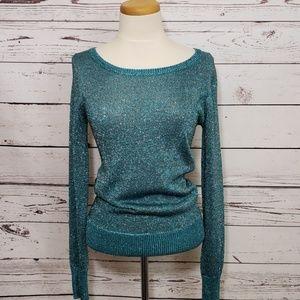 ASOS Exposed Back Zipper Metallic Sheen Sweater 10